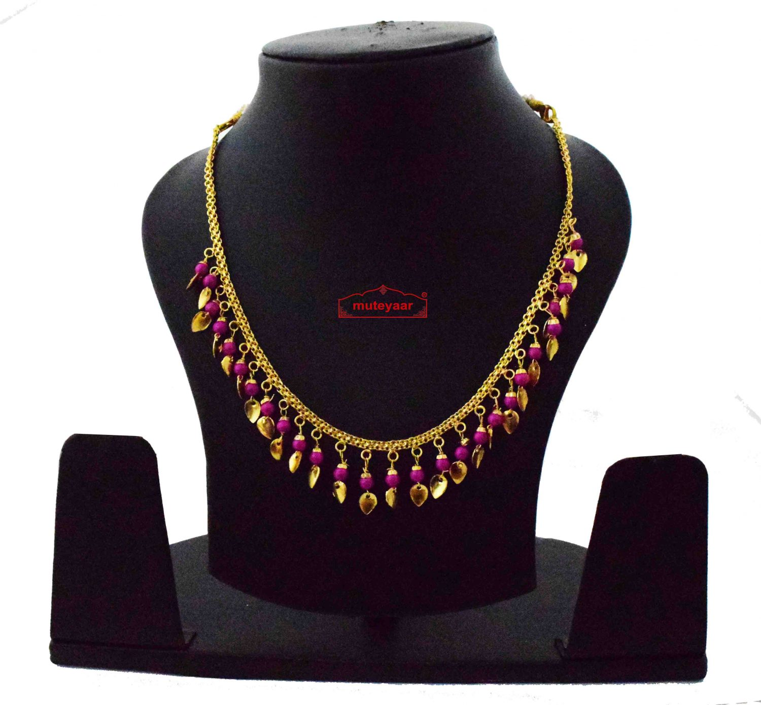 Chain with magenta Beads & Golden Leaves J0618 1