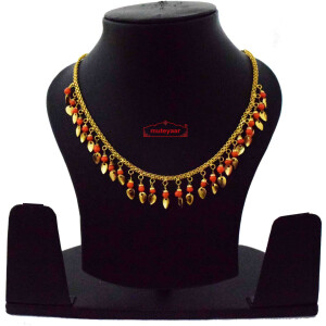 Chain with Orange Beads & Golden Leaves J0619