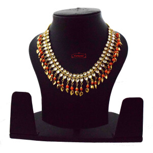 Orange Kundan Chain J0620