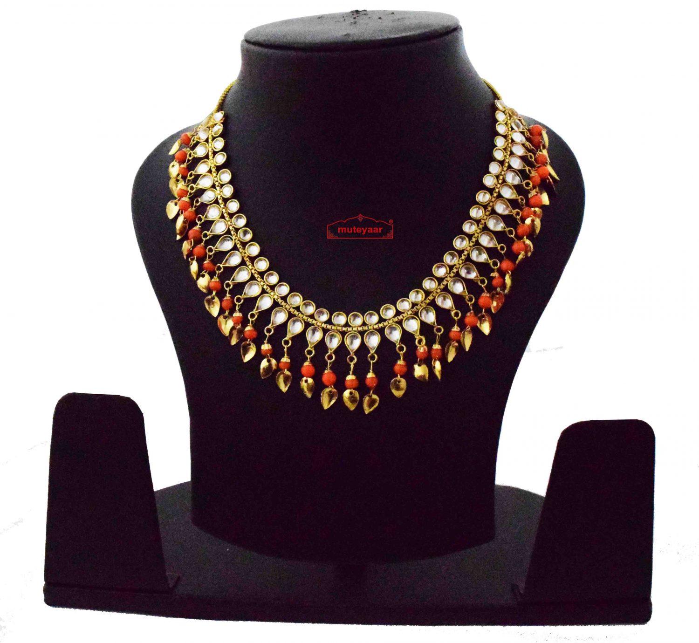 Orange Kundan Chain J0620 1