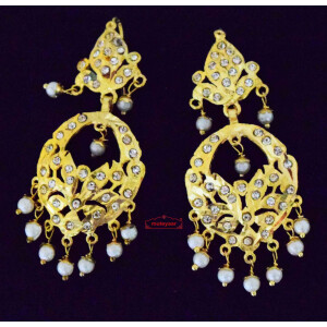 Jadau Earrings with White Beads J0622