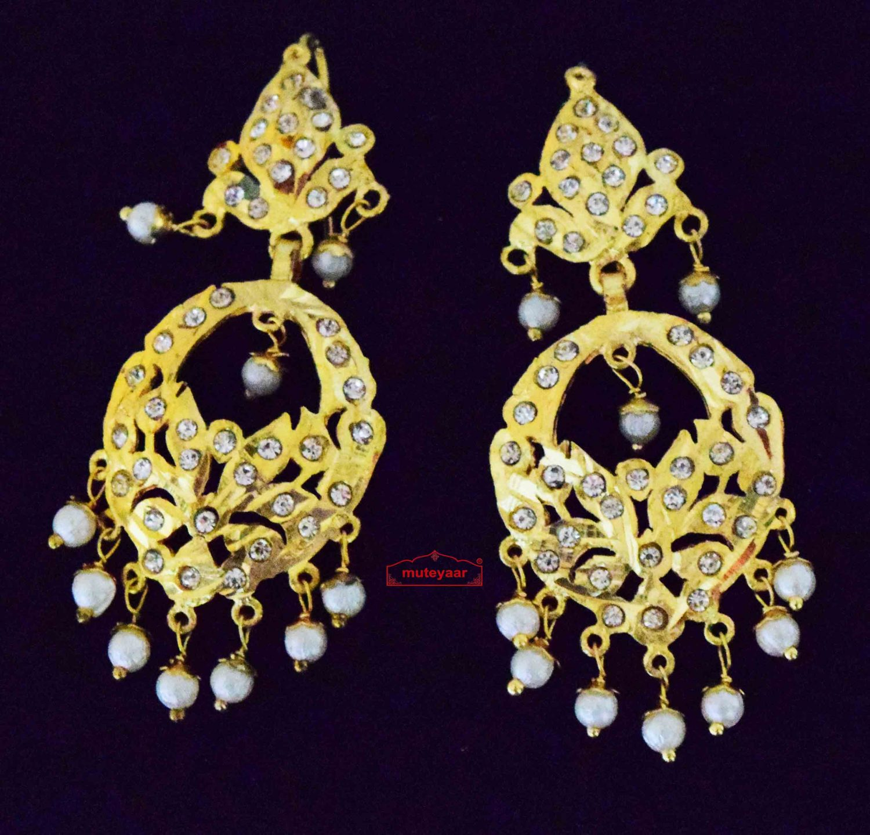 Jadau Earrings with White Beads J0622 1