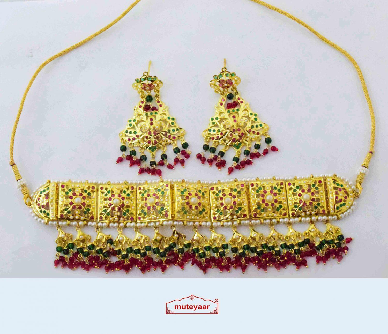Multicolour Jadau Choker Set Guluband J4023 1