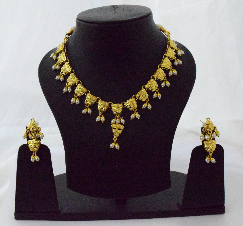 Real Gold Plated Jadau Necklace Set J4060 1