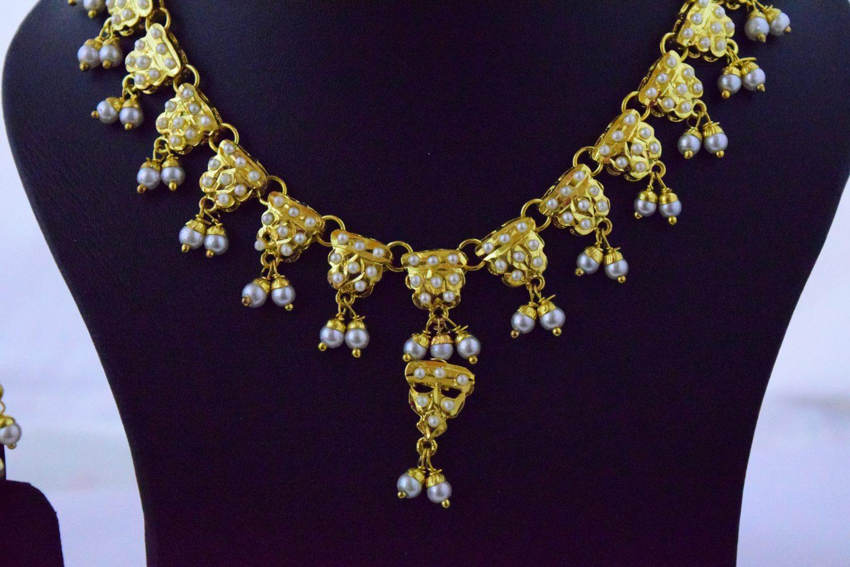 Real Gold Plated Jadau Necklace Set J4060 2