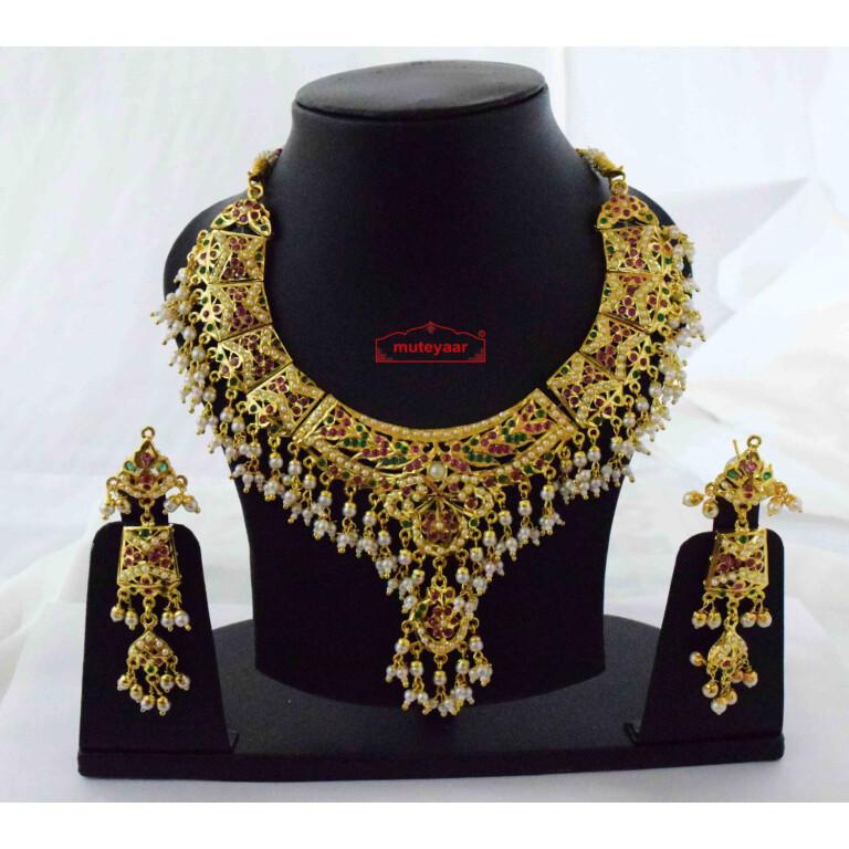 Gold Plated Jadau Set Bridal Jewellery J4061