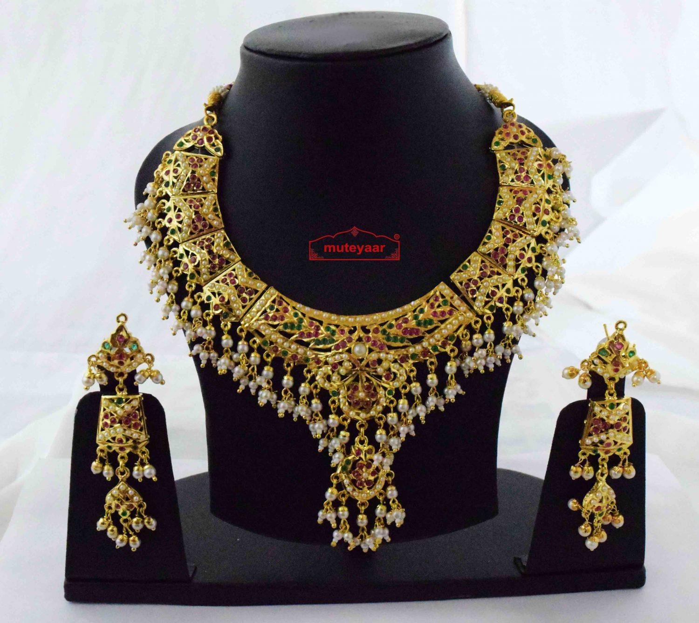 Gold Plated Jadau Set Bridal Jewellery J4061 1