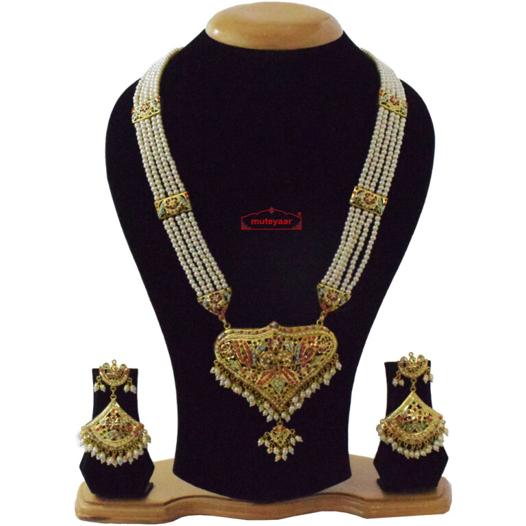 Gold Plated Ranihaar Long Jadau Set J4063