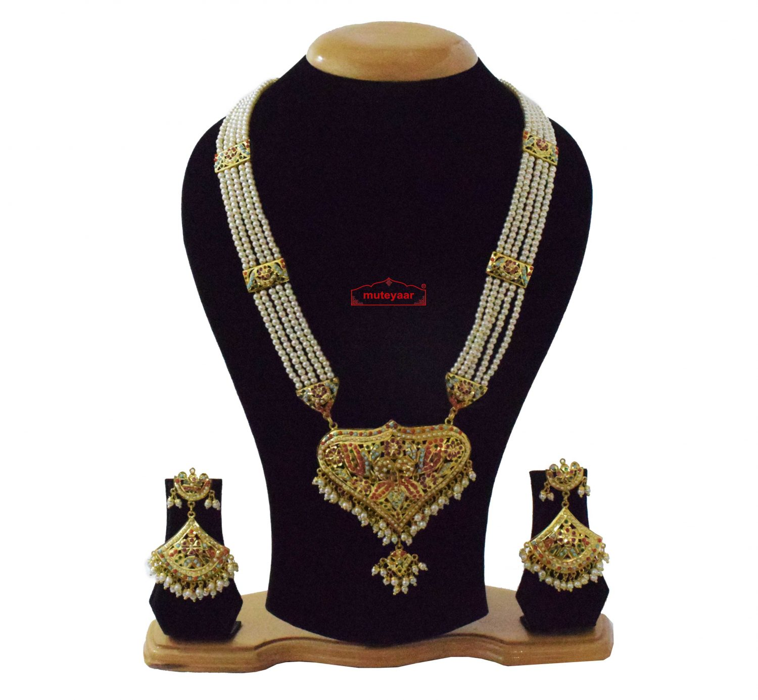 Gold Plated Ranihaar Long Jadau Set J4063 1