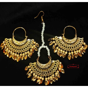 Cut Jali Punjabi Earrings Tikka Set J0623