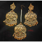 Jadau Tikka Earrings Set with Pipal Patti J0624