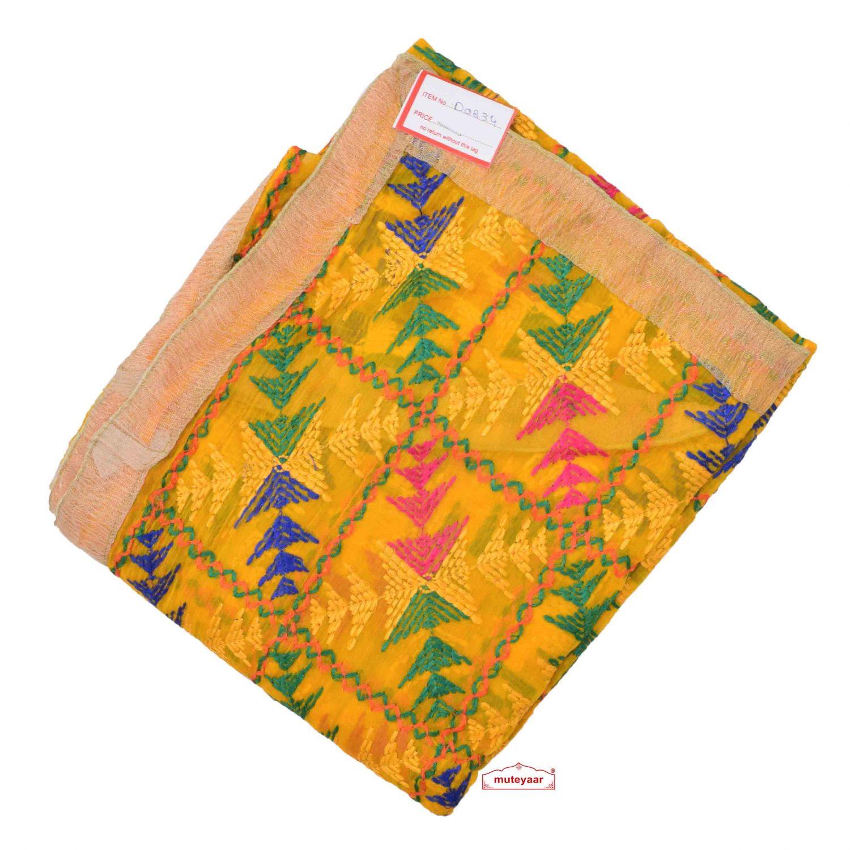 Yellow Phulkari Dupatta D0834 1