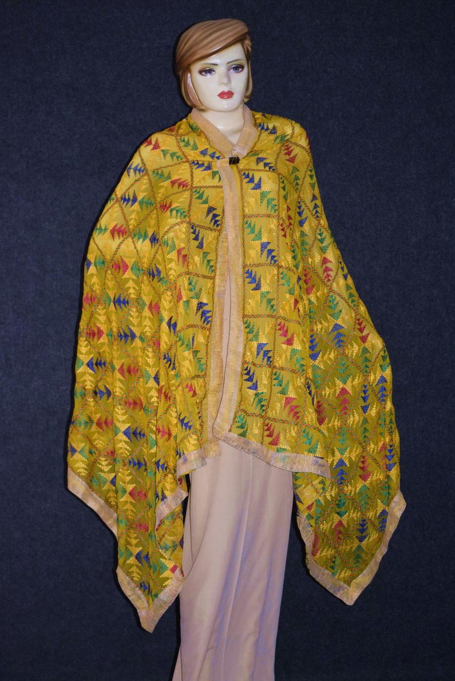Yellow Phulkari Dupatta D0834 2