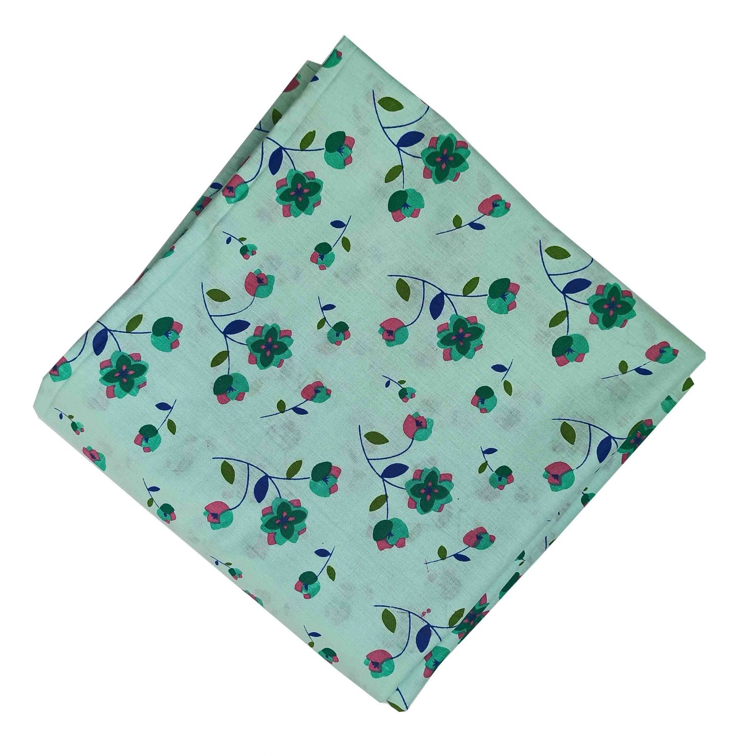 Green Floral Print Pure Cotton Fabric PC573 1