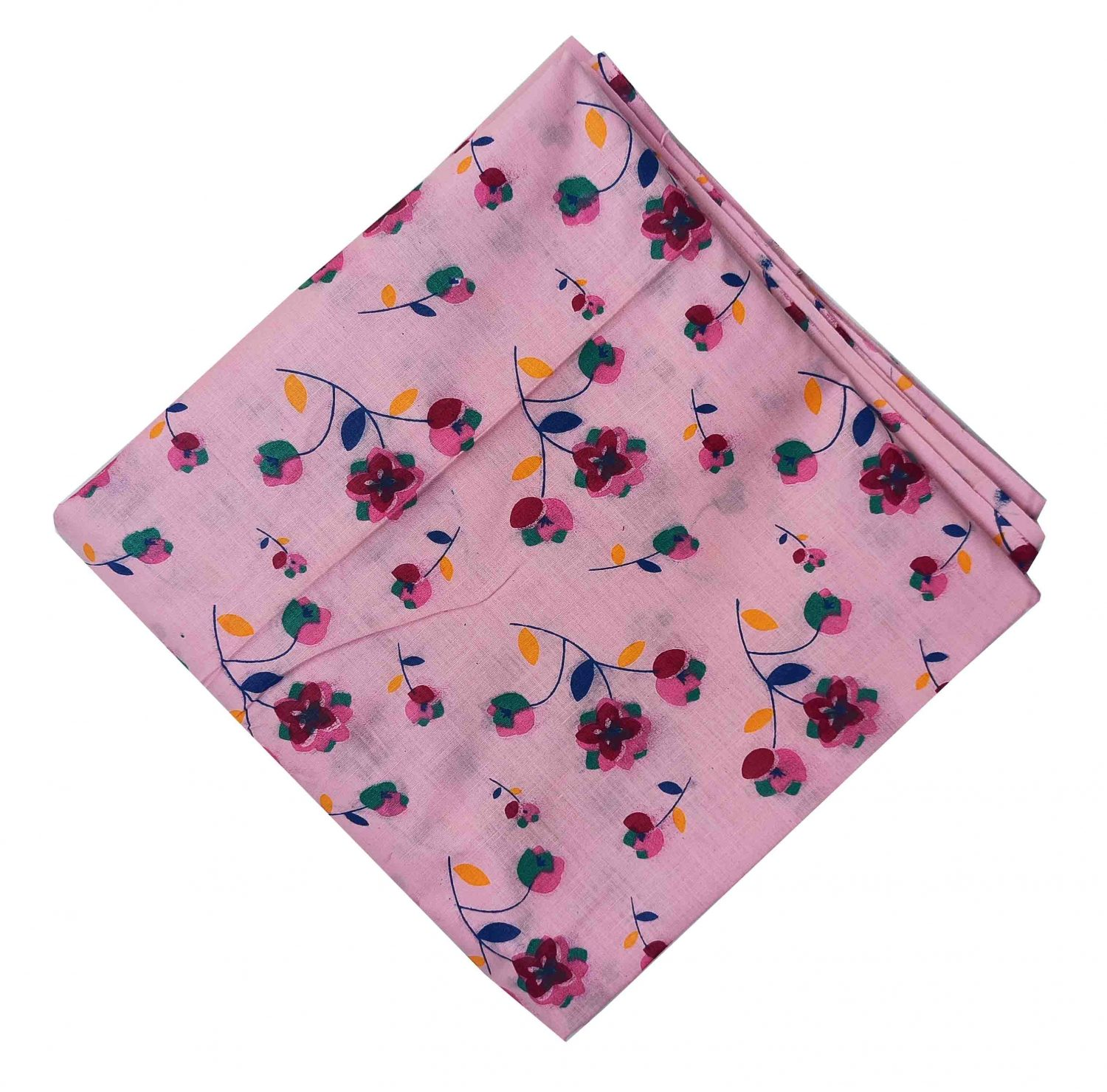 Pink Floral Print Pure Cotton Fabric PC574 1