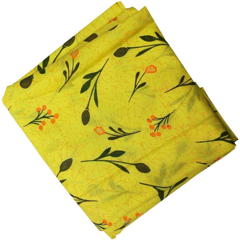Yellow Printed Cotton Fabric PC565