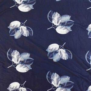 Navy Blue Cotton Based Stretchable Printed Hosiery Fabric HF035 (Width 72″)
