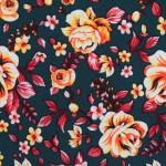 Dark Green Floral Print Stretchable Hosiery Fabric HF040 (Width 72″)