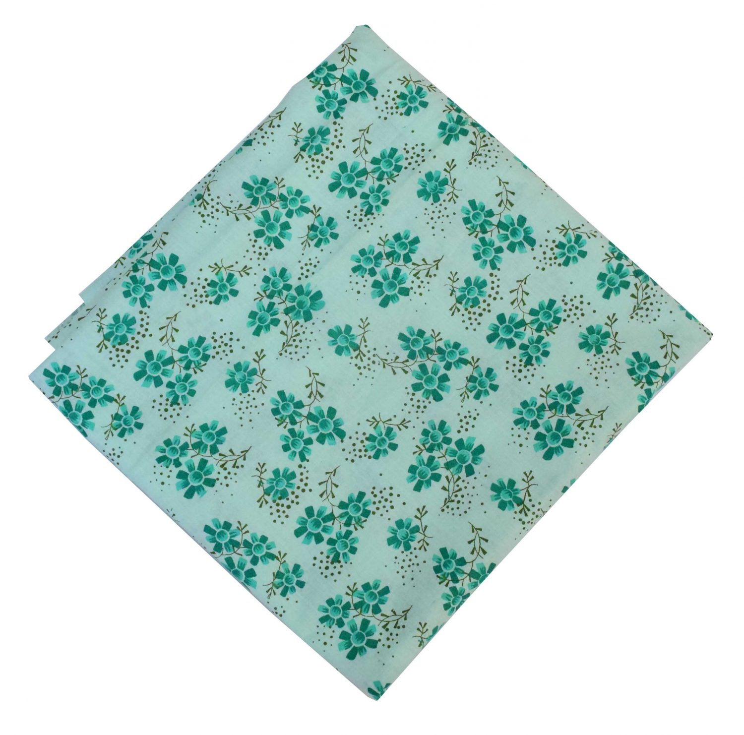 Pure Cotton Green Flowers Printed Fabric PC584 1