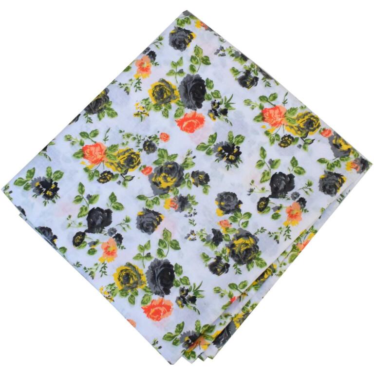 Black Roses Print Pure Cotton Fabric PC586
