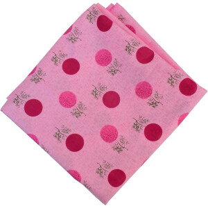 Pink Polka Print Pure Cotton Fabric PC593