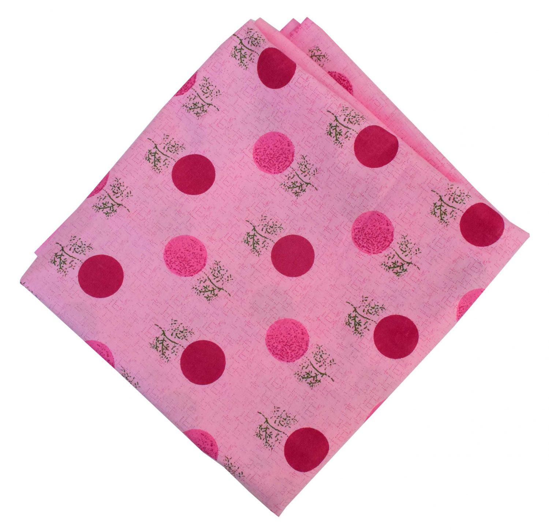 Pink Polka Print Pure Cotton Fabric PC593 1