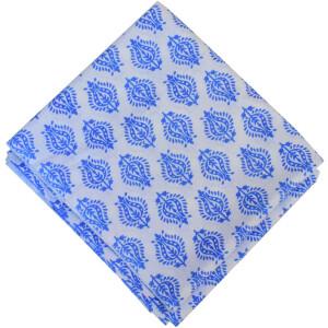 White Blue Print Pure Cotton Fabric PC595