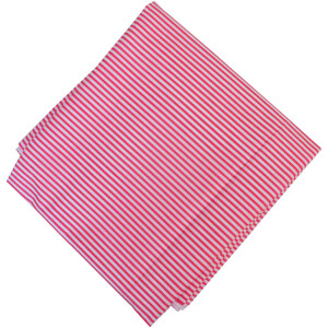 Pink White Lines Print Pure Cotton Fabric PC598