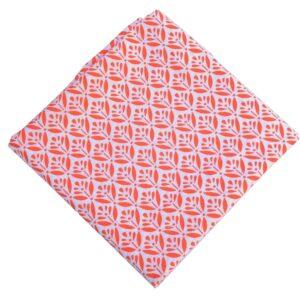 Orange White Printed Pure Cotton Fabric PC613