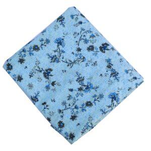 Light Blue Printed Pure Cotton Fabric PC614