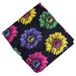 Big Flowers Black Printed Cotton Fabric PC631