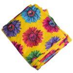 Big Flowers Yellow Printed Cotton Fabric PC641