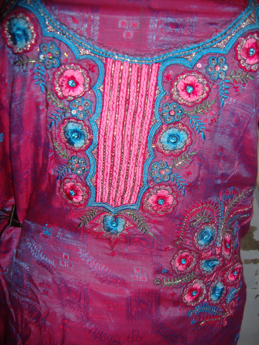 Blended Cotton Self Print Embroidered Suit RM036 2