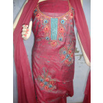 Self Print Blended Cotton Embroidered Suit RM040