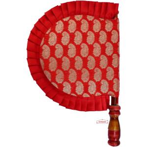 Red Brocade Punjabi Hand Fan T0287