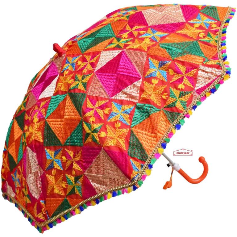 phulkari chhatri decorative umbrella
