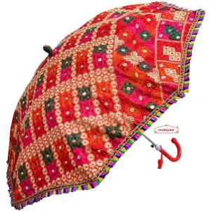 Red Phulkari Umbrella Chhatri UMB08
