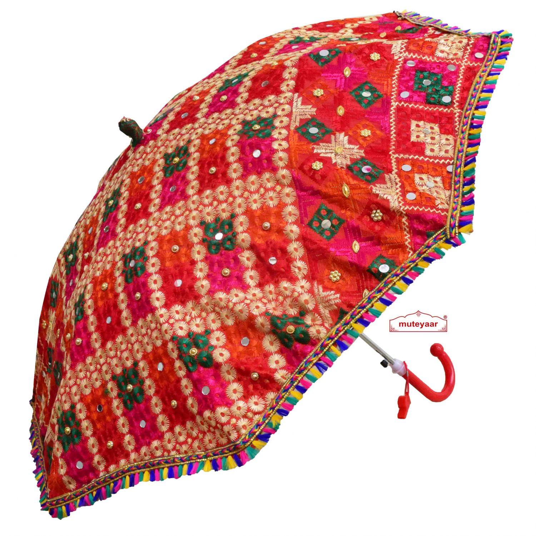 Red Phulkari Umbrella Chhatri UMB08 1