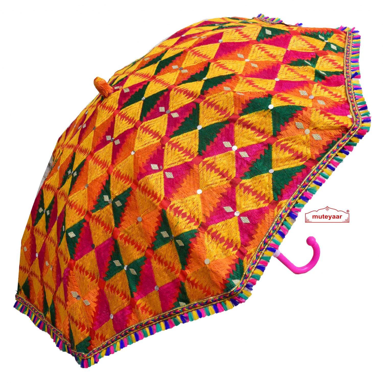 Decorative Phulkari Umbrella UMB09 1
