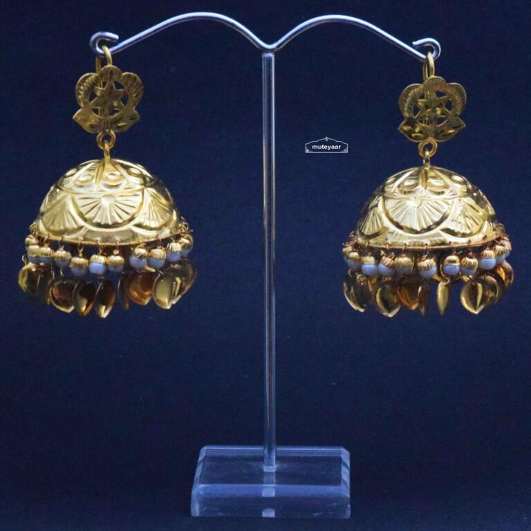 Big Lotan Jhumka Earrings J0396 with White Beads