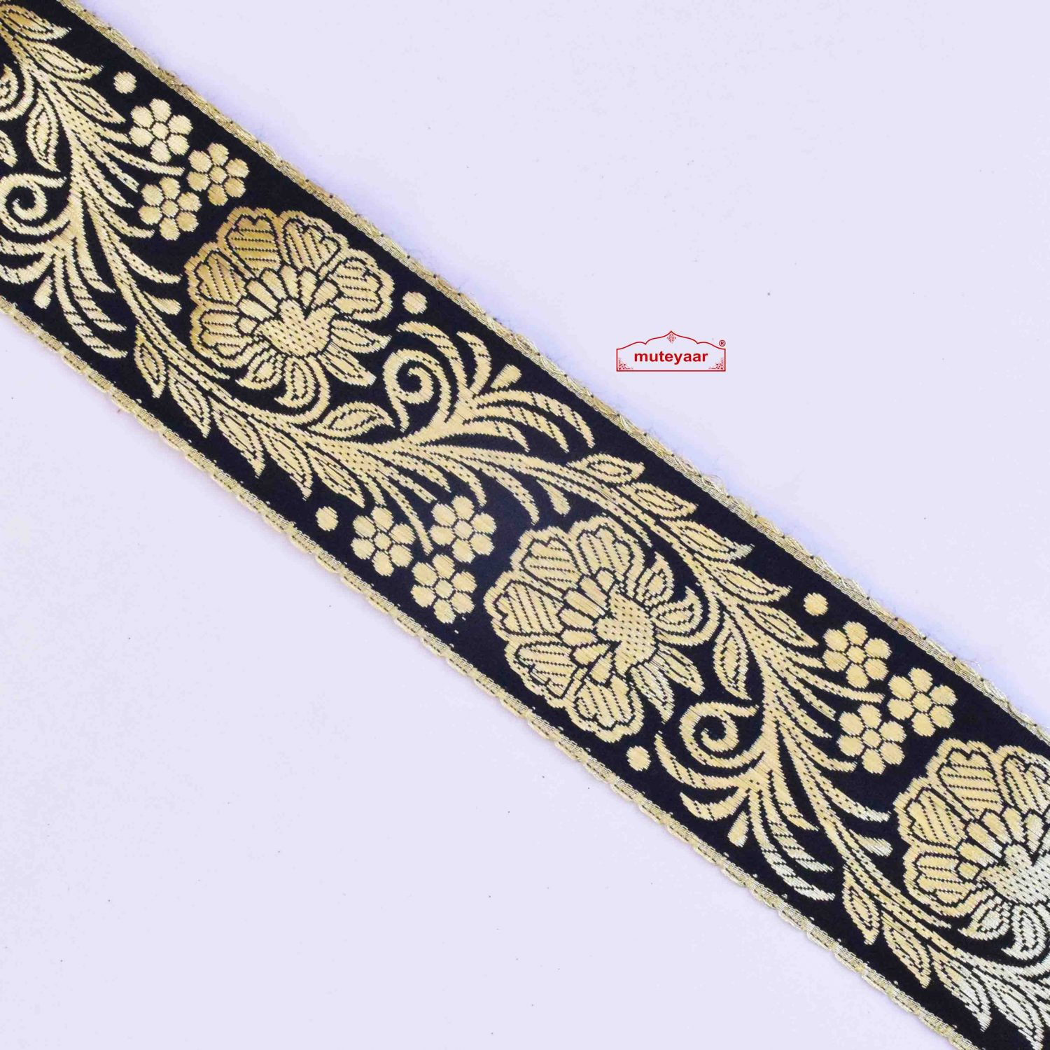 Black Golden Satin Lace 2.5 inch Wide LC292