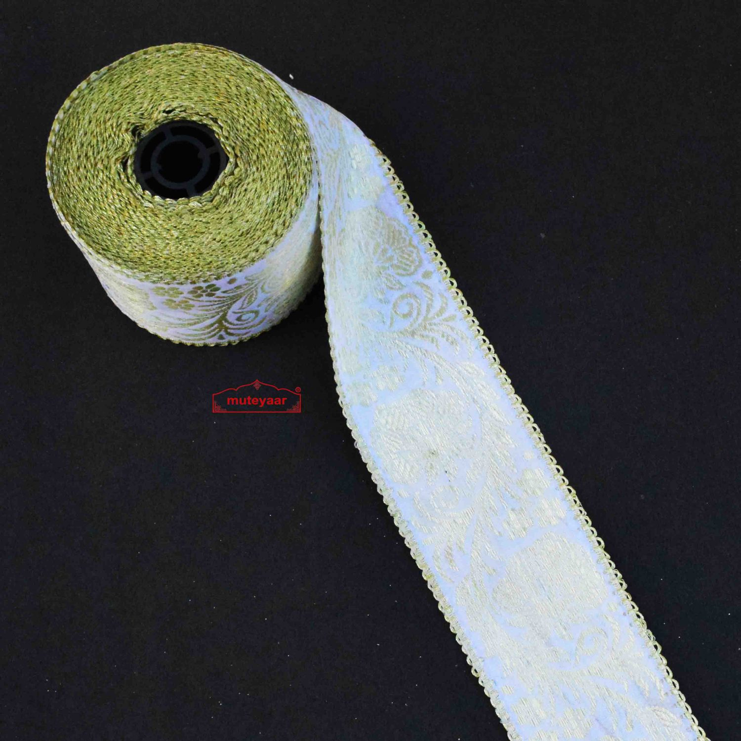 White Golden Satin Lace 2.5 inch Wide LC293